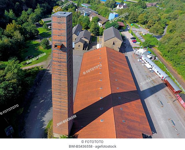 peregrine falcon (Falco peregrinus), building of former coal mine Nachtigall, chimney stack with nest box for peregrine falcons, drone picture, 30.08