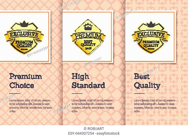 High standard best quality premium choice golden labels posters set with gold stamp vector promo stickers with crown and text, guarantee certificates