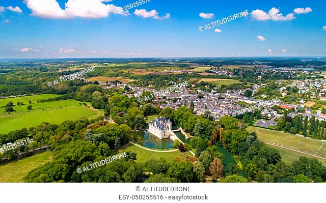 Aerial view of Azay Le Rideau renaissance castle in Indre et Loire, France
