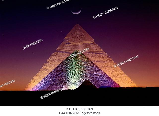 Gizeh, pyramids, at night, night, projection, pyramid, tourism, sound and light show, Cairo, Egypt, North Africa