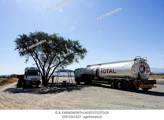 KALAHARI DESERT NAMIBIA. Truck stop in the shade