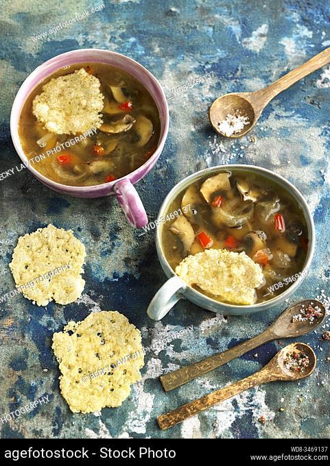 sopa de cebolla y setas / onion and mushroom soup