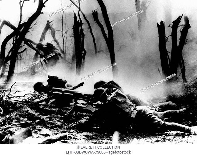 World War I, American troops in the 23 Infantry of the 2nd Division fire at German soldiers, France. Photo undated. Courtesy: CSU Archives / Everett Collection