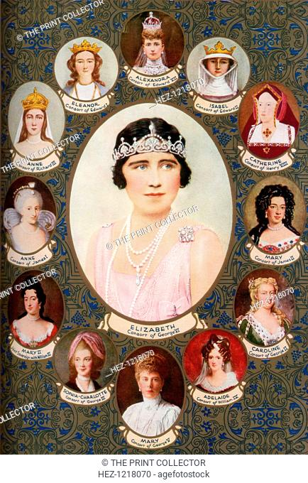 Queen consorts crowned in Westminster Abbey, 1937. The central portrait is Elizabeth, Queen Consort of George VI. The others, clockwise from top are: Alexandra