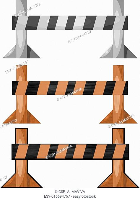 A set of wooden barriers. eps10