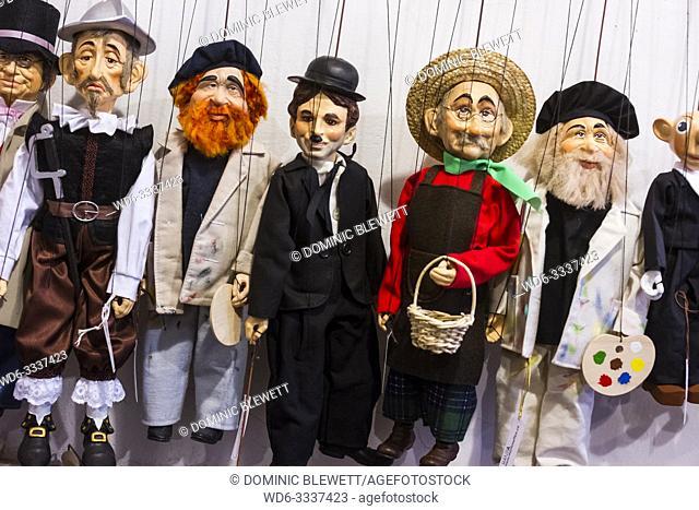 Puppets inside a puppet shop in Prague, The Czech Republic