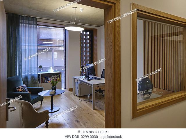 Admin office from hallway. Newnham College, Cambridge, Cambridge, United Kingdom. Architect: Walters and Cohen Ltd, 2018