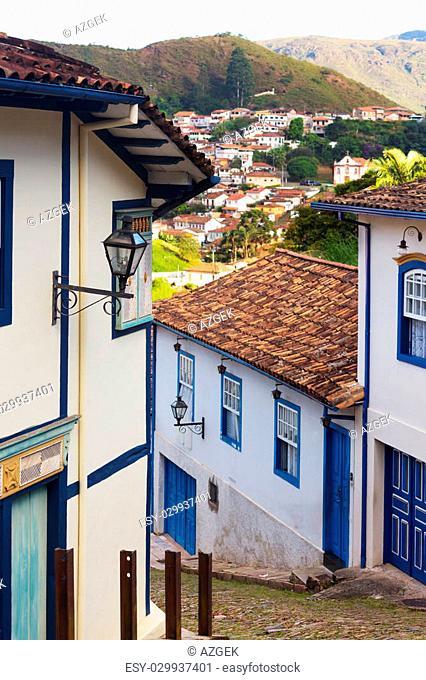 streets of the famous historical town Ouro Preto, Minas Gerais, Brazil