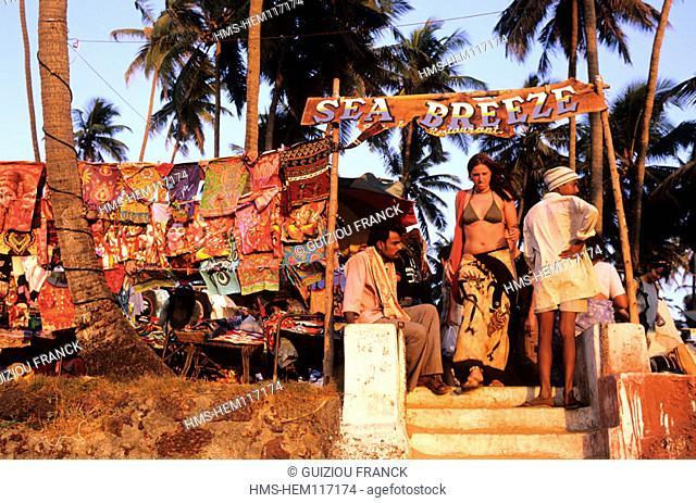 India, Goa State, flea market on Anjuna beach