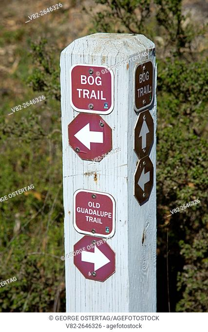 Trail junction sign, San Bruno Mountain State Park, California