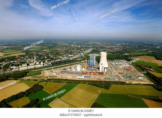 Aerial view, Datteln, power station EON Datteln IV, EON, Ruhr area, North Rhine-Westphalia, Germany, Europe