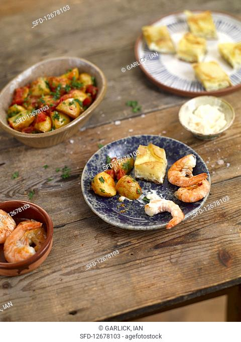 Spanish tapas on a wooden table