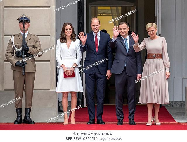Britain's Prince and Princess of Cambridge William and Kate visit in Warsaw, Poland on July 17th, 2017. Pictured: Prince and Princess of Cambridge William and...