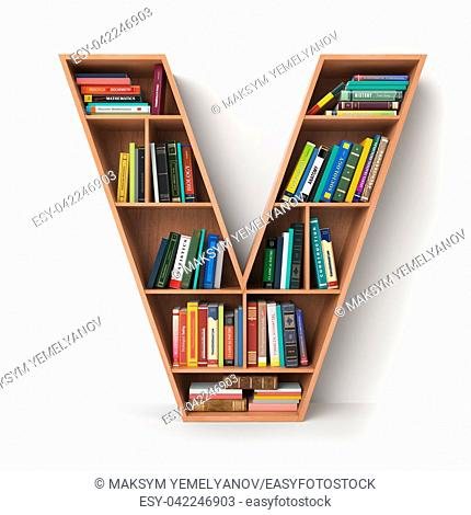 Letter V. Alphabet in the form of shelves with books isolated on white. 3d illustration
