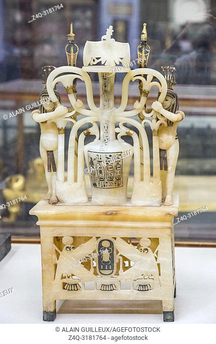 Egypt, Cairo, Egyptian Museum, Tutankhamon alabaster, from his tomb in Luxor : Composite perfume vase, upon openwork pedestal