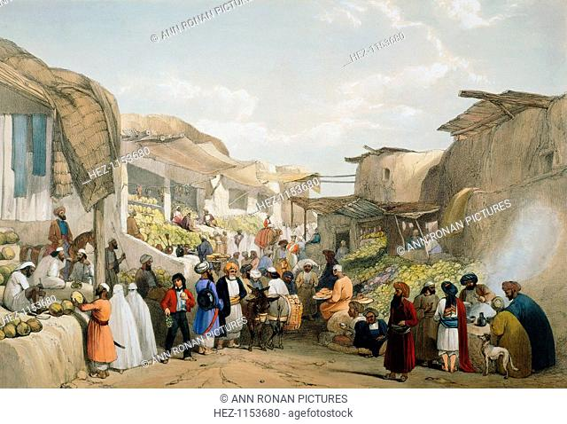 Bazaar at Kabul during the fruit season, First Anglo-Afghan War, 1838-1842. The British fought the Anglo-Afghan Wars in an attempt to block the expansion of...