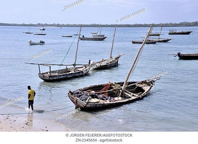 Boats in Shimoni, southern coast of Kenya