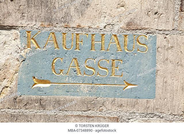 old sign signpost Kaufhausgasse at Haus Gürzenich, Rhineland, North Rhine-Westphalia, Germany, Europe
