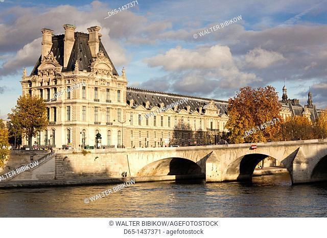 France, Paris, Musee du Louvre building in autumn