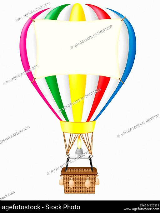 hot air balloon and blank banner vector illustration isolated on white background
