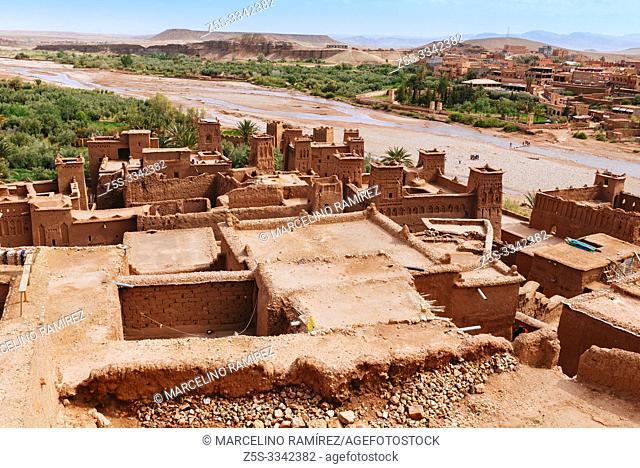 The new village seen from the old village. Ksar Ait Ben haddou, old Berber adobe-brick village or kasbah. Ouarzazate, Drâa-Tafilalet, Morocco, North Africa