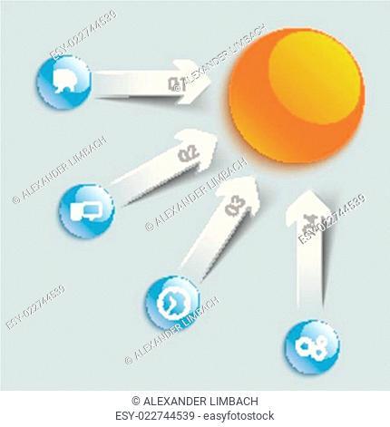 Paper 4 Arrows Blue Orange Edge Buttons PiAd