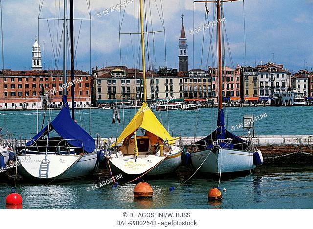 View of the pier of San Giorgio Maggiore island, Venice (UNESCO World Heritage List, 1987), Veneto, Italy