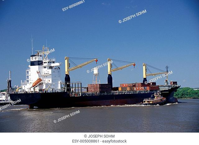 Container ship on Merkur River, Georgia