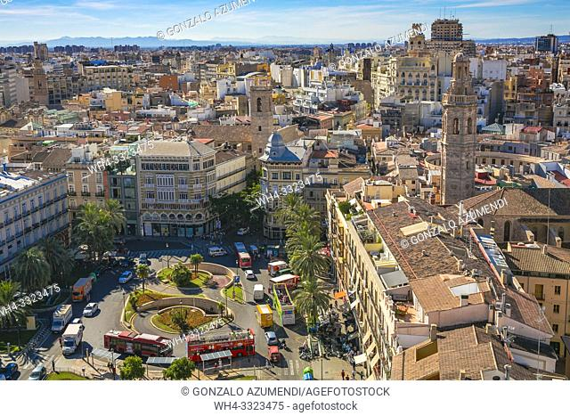 View of PLaza de la Reina Square from Miguelete, Bell Tower of Santa Maria de Valencia. Cathedral. Valencia. Comunidad Valenciana. Spain