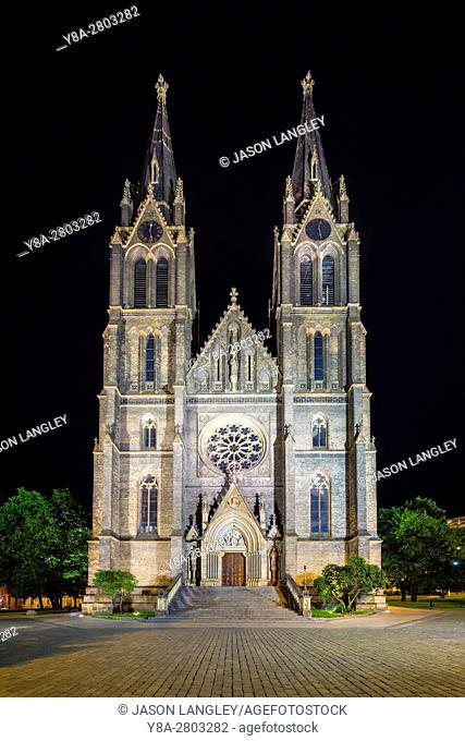 Czech Republic, Prague. Church of St Ludmila at Namesti Miru (Peace Square)