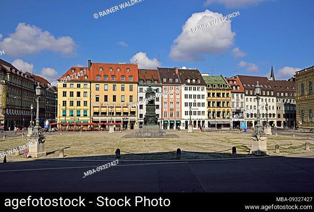 Europe, Germany, Bavaria, Munich, City, Max-Joseph-Platz, Monument, panorama Residenzstrasse