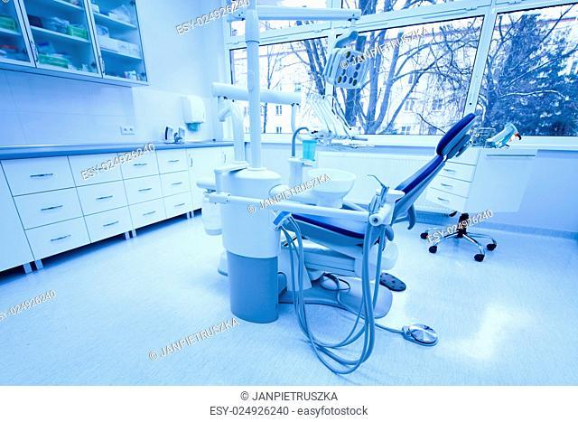 Dental clinic interior, bright colorful tone concept