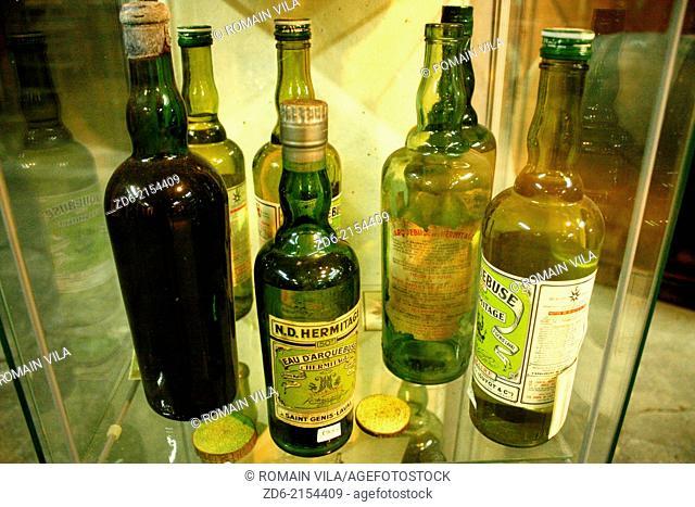 Bottles at the distillery Cherry Rocher, La Côte-Saint-André, Isère, Rhône-Alpes, France, Europe