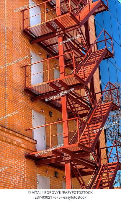 Fire escape on the facade of the new office building
