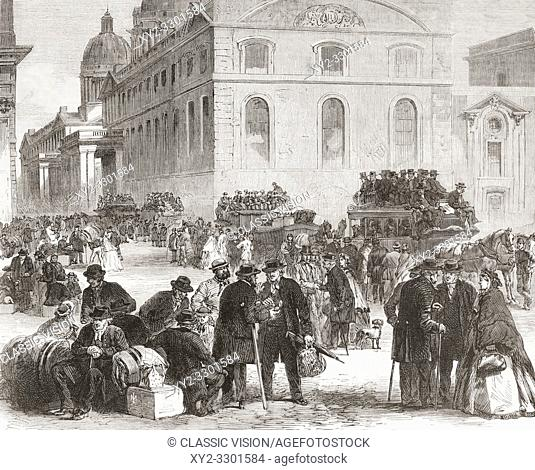 Pensioners leaving the Greenwich hospital. The Greenwich Hospital was a permanent home for retired sailors of the Royal Navy, which operated from 1692 to 1869