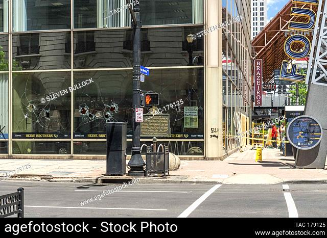 Window damages of Heine Bro's Coffee in Meidinger Building at 4th St and Chestnut on May 30, 2020 in Louisville, Kentucky