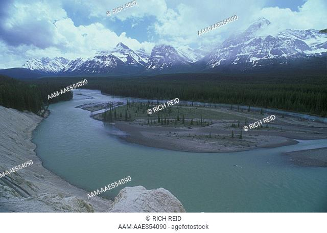 Athabasca River and Rocky Mountains, Banff N.P., Alberta, Canada
