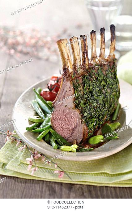 Rack of lamb with a herb crust for Easter