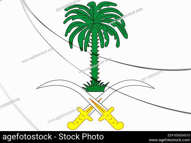 3D Saudi Arabia coat of arms. 3D Illustration