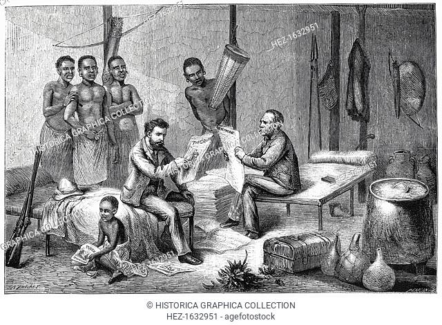 Livingstone and Stanley receiving newspapers in Central Africa, 1871-1873. Scottish missionary and explorer David Livingstone (1813-1873) was the first European...