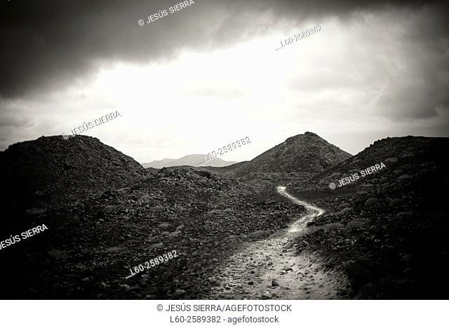 Road in Lobos island. Fuerteventura. Spain