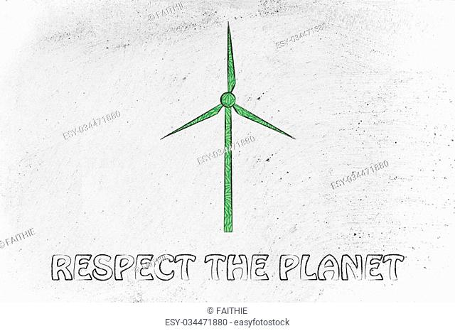 windmill blade made of green leaves: concept of sustainability