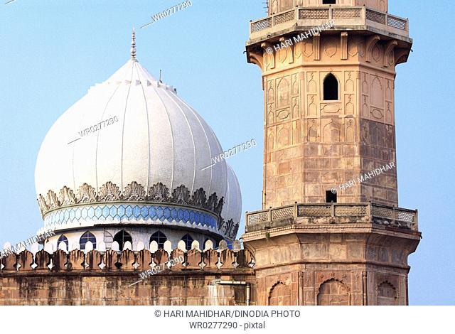 Close up view of dome and minarets of Taj-ul masjid built in 1868 by Shah Jahan begum , Bhopal , Madhya Pradesh , India