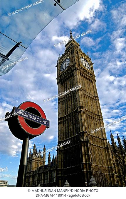 Underground Tube Station sign and Big Ben ; London ; U.K. United Kingdom England