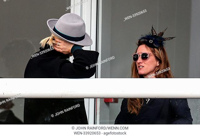 Cheltenham Festival 2018 - Day 1 - Zara Tindall arrives for the opening day of the Festival carrying a Paul Costello handbag Featuring: Zara Tindall