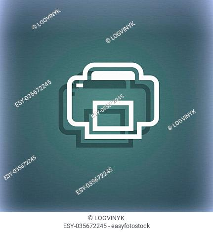 Printing icon symbol on the blue-green abstract background with shadow and space for your text. illustration