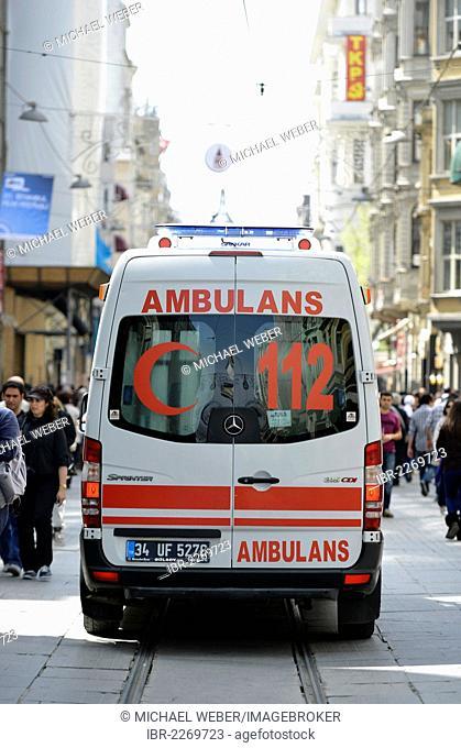Ambulance, Red Crescent, Istiklal Caddesi shopping street, Independence Street, Beyoglu, Istanbul, Turkey, Europe, PublicGround