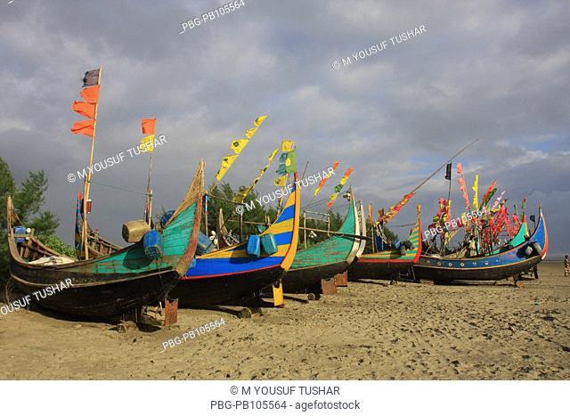 Colourful fishing boats at Teknaf Cox's Bazar, Bangladesh September 2008