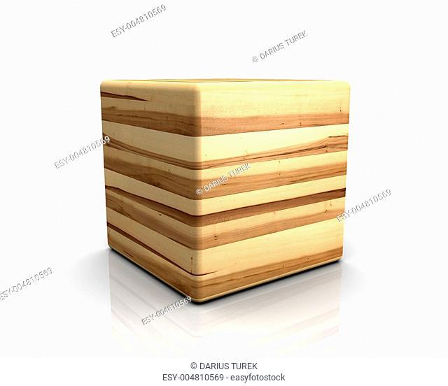 3D Holzwürfel abgerundet - Ahorn Kern