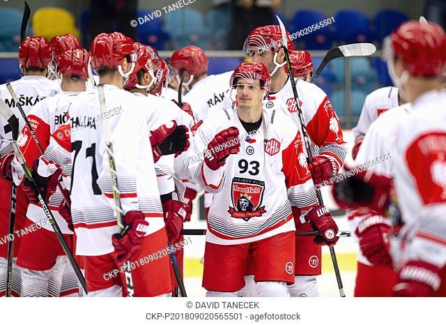 Hockey players of Hradec Kralove celebrate o goal during the Ice hockey Champions League matches group F Mountfield Hradec Kralove vs